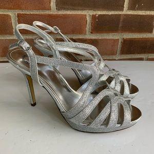 I.Miller silver metallic shimmer heeled sandals